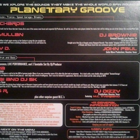 PLANETARY GROOVE FLYER